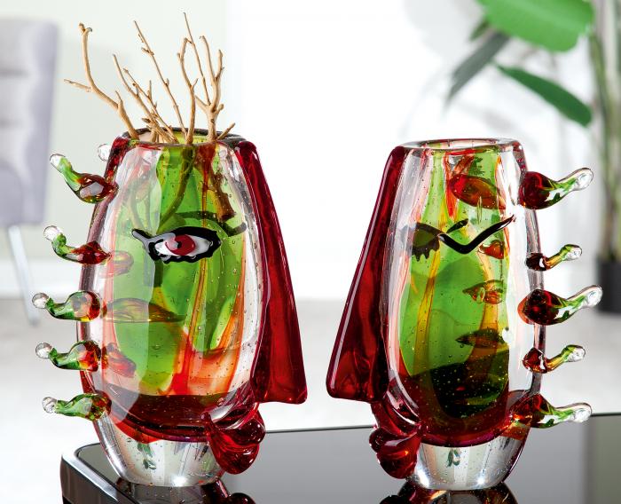 Vaza Viso, sticla, multicolor, 22x27x9 cm lotusland.ro