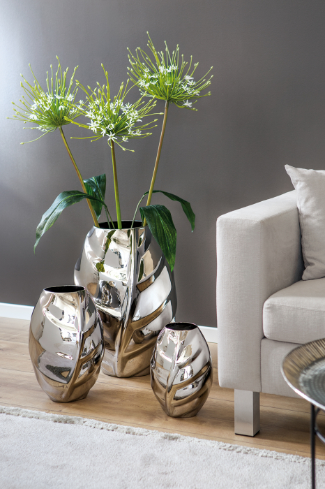 Vaza Xenia, Ceramica, Argintiu, 57x59 cm lotusland.ro