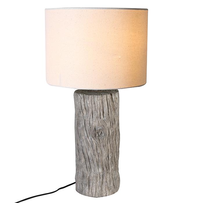 Veioza Wood trunk, rasina lemn panza, crem, 50x26 cm imagine 2021 lotusland.ro
