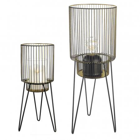 Set 2 suporturi pentru lumanare DIVERSITY, metal/sticla, 53/38 cm [0]