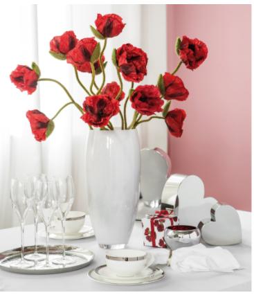 Crenguta artificiala de mac cu 3 flori MOHN, rosu, 70 cm, Fink1