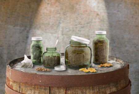 Borcan cu capac  sticla reciclata GREEN (cm) Ø 8,5X16,56