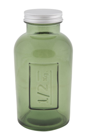 Borcan cu capac  sticla reciclata GREEN (cm) Ø 8,5X16,50