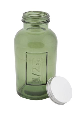 Borcan cu capac  sticla reciclata GREEN (cm) Ø 8,5X16,52