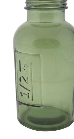 Borcan cu capac  sticla reciclata GREEN (cm) Ø 8,5X16,54
