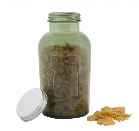 Borcan cu capac  sticla reciclata GREEN (cm) Ø 8,5X16,55