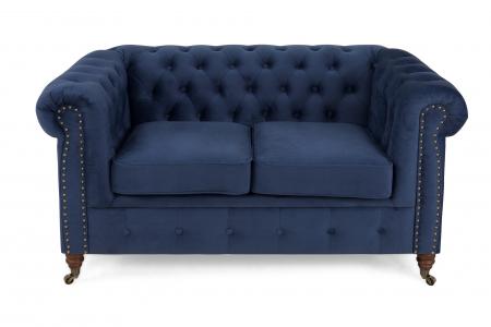 Canapea Chesterfield, 2 locuri, Albastru, 150x80x86 cm1