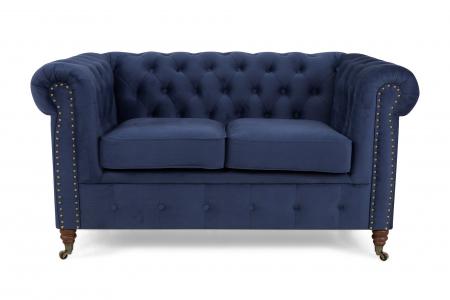 Canapea Chesterfield, 2 locuri, Albastru, 150x80x86 cm3