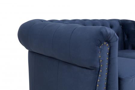 Canapea Chesterfield, 2 locuri, Albastru, 150x80x86 cm5