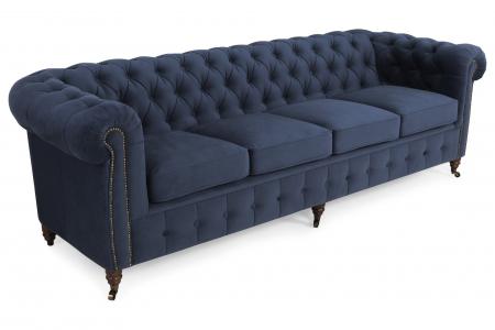 Canapea Chesterfield, 4  locuri, Albastru, 238x80x86 cm0