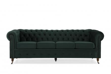 Canapea Chesterfield, 4  locuri, Verde, 238x80x86 cm1