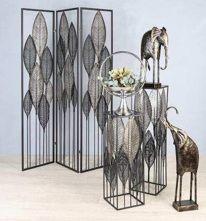 Consola PALM LEAVES, metal/sticla, 80x27x27 cm1
