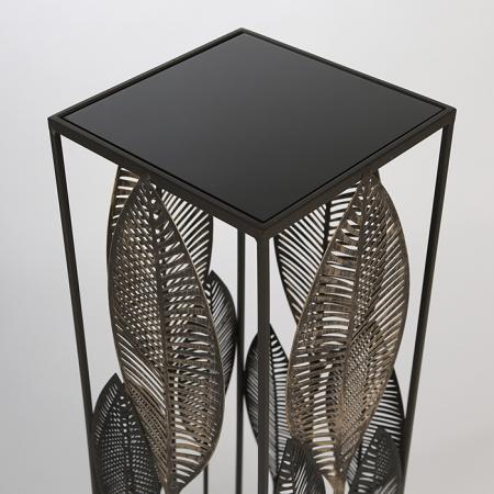 Consola PALM LEAVES, metal/sticla, 80x27x27 cm3