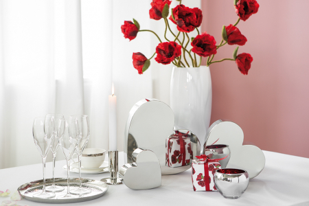 Crenguta artificiala de mac cu 3 flori MOHN, rosu, 70 cm, Fink2