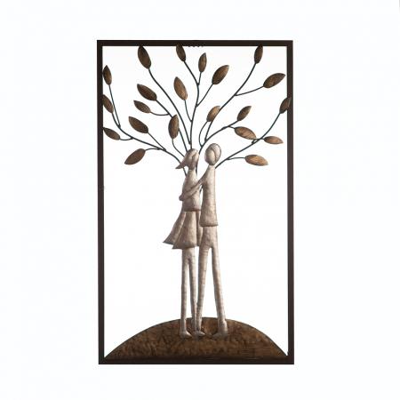 Decoratiune de perete TREE COUPLE, metal, 50x30 cm0