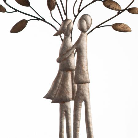 Decoratiune de perete TREE COUPLE, metal, 50x30 cm2