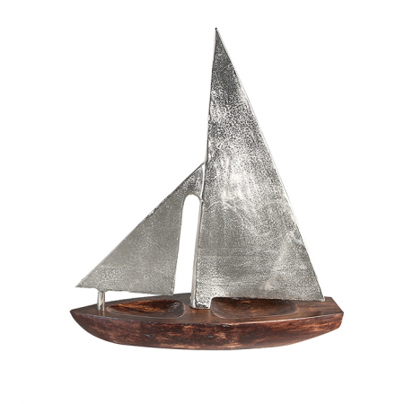 Decoratiune BOAT, lemn/aluminiu, 27x21x7.5 cm0