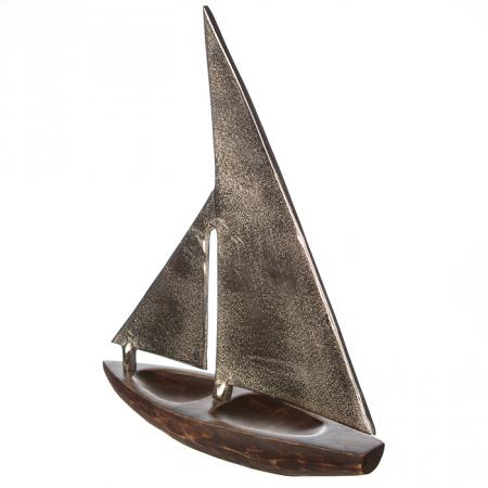 Decoratiune BOAT, lemn/aluminiu, 27x21x7.5 cm4
