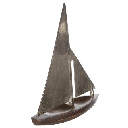 Decoratiune BOAT, lemn/aluminiu, 27x21x7.5 cm3