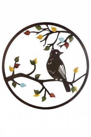 Decoratiune de perete bird in the tree, metal, multicolor, 60 cm1