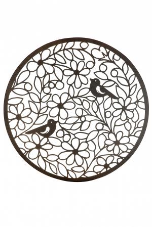 Decoratiune de perete bird paradise, metal, maro, 60 cm0