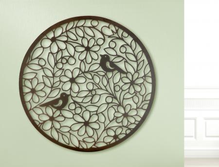 Decoratiune de perete bird paradise, metal, maro, 60 cm1