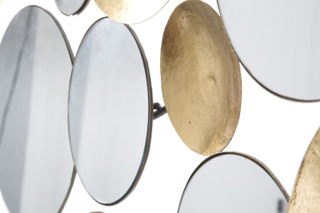 Decoratiune de perete cu oglinda GLAM, Metal/Oglinda, Auriu/Argintiu, 118X2.5X60 cm [5]