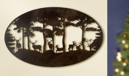 Decoratiune de perete DEER, metal, 90x55 cm0