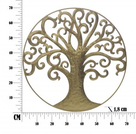 Decoratiune de perete LIFE TREE GOLD GLAM (cm) Ø 70X1,86