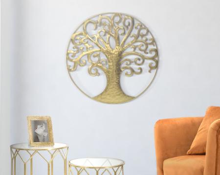 Decoratiune de perete LIFE TREE GOLD GLAM (cm) Ø 70X1,85
