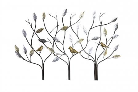 Decoratiune de perete tree birds, metal, multicolor, 104x71x2 cm [1]