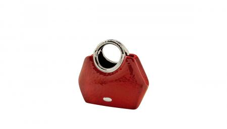 Vaza  Milano, ceramica, rosu/argintiu, 24.5x10.5x21 cm1