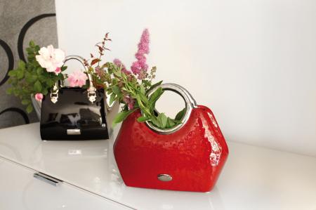 Vaza  Milano, ceramica, rosu/argintiu, 24.5x10.5x21 cm0