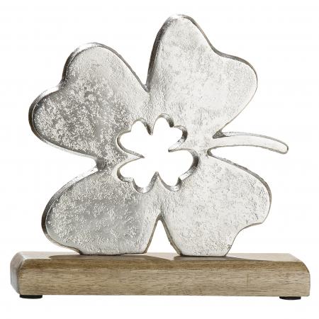 Decoratiune leaf, aluminiu/lemn, argintiu/maro, 5x20x20 cm1
