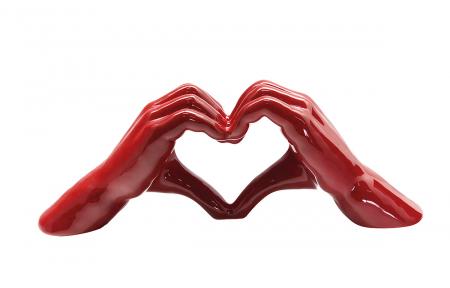 Decoratiune maini Heart, ceramica, rosu, 31x7x11 cm0