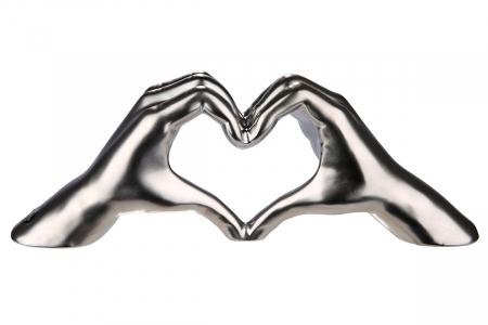 Decoratiune maini inima, ceramica, argintiu, 31x7x11 cm [0]