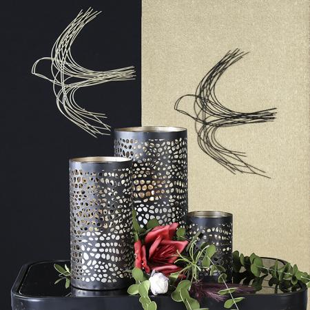 Decoratiune pentru perete Swallow, sarma metalica, negru, 31x381