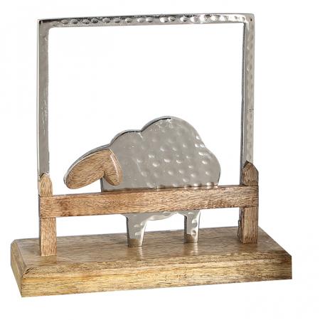 Decoratiune SHEEP, lemn/aluminiu, 20x20x6 cm0