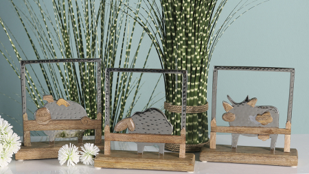 Decoratiune SHEEP, lemn/aluminiu, 20x20x6 cm1