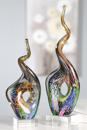 Decoratiune TWIST, sticla, 35x14x8 cm2