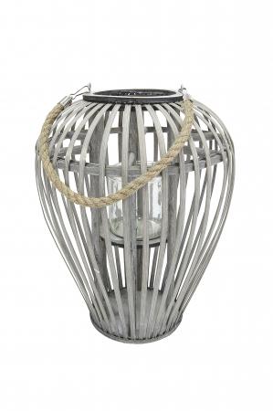 Felinar GILDE, lemn/sticla, 26x24 cm0