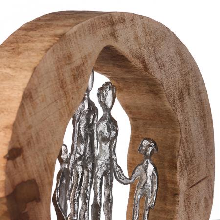 Figurina FAMILY, lemn/aluminiu, 28X30X7 cm3