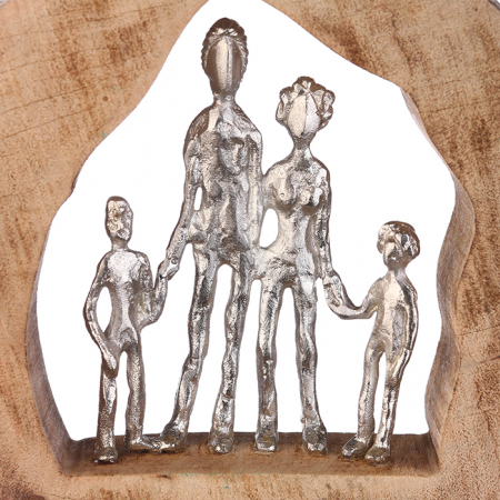 Figurina FAMILY, lemn/aluminiu, 28X30X7 cm2