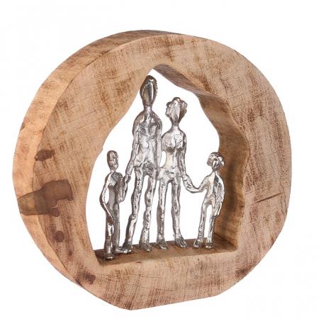 Figurina FAMILY, lemn/aluminiu, 28X30X7 cm0