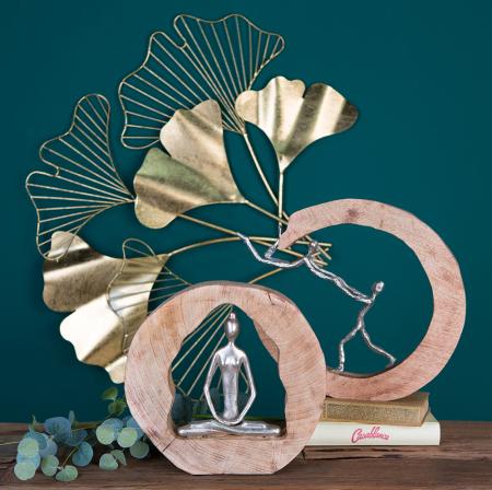 Figurina HEALTH, lemn/aluminiu, 27X28.5X5 cm5