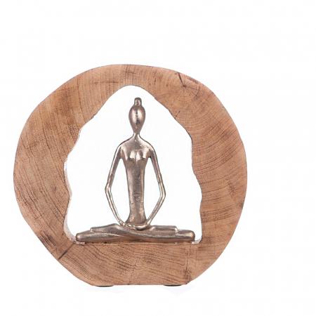 Figurina HEALTH, lemn/aluminiu, 27X28.5X5 cm0