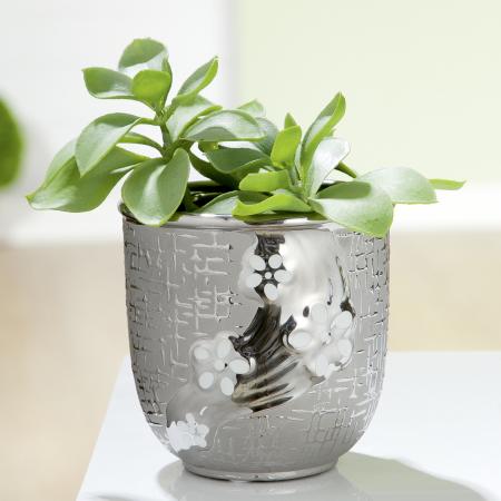 Ghiveci Daisy, ceramica, argintiu, 13x13x13 cm0