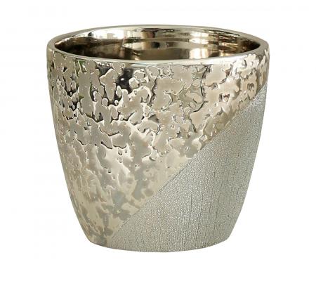 Ghiveci Grace, ceramica, bej/argintiu, 14x14x12 cm0