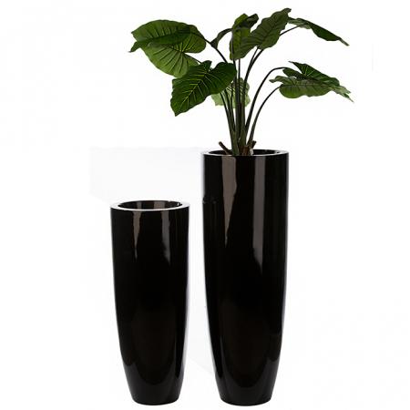Ghiveci KONUS, compozit, negru, 92x36 cm1