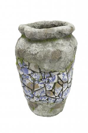 Ghiveci Mosaic, compozit, gri, 41x27 cm0